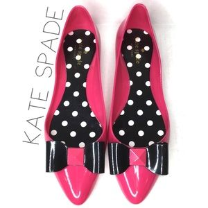 NEW Kate Spade pointed pink jelly bow stud flats 9